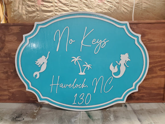 Large Beach House Sign, Mermaid, Bay, Ocean, Address, Established Sign, Exterior, Outdoor, Wooden, Wood, Beachy, Teal and White, Shabby Chic