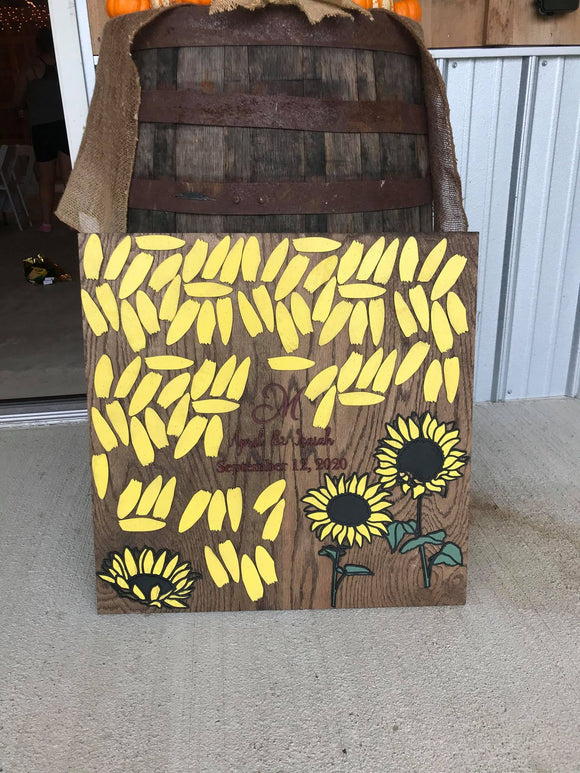 Sunflower Custom Wedding Sign Board Alternative Sign In Board Signature Name Sign Signature Board Guest Book Wood Raised 3D Personalized