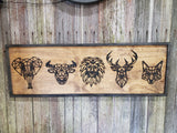 Origami Animals Elephant Deer Fox Lion Bull  Safari Adventure Outdoors 3D Raised Wood Sign Over Sized Sign Rustic Over Sized Laser Detail