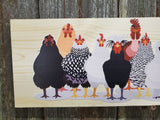 Chicken Sign Flock Rooster Hen Assorted Breeds Colored Wood Print Silkie Rhode Island Red Wyandotte