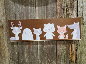 Woodland Animals Sign Nursery Deer Fox Bear Nature Babies Plaque Decor Wall Art Color Wood Print