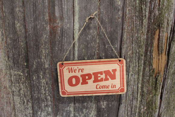 Open Closed Sign Red Come In Sorry We're Closed Double Sided Close Advertising Small Business Wooden Front Door Entry Way Decor Plaque Wood
