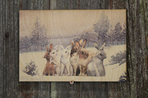 Bunny Rabbit Hare Winter Snow Forest Scenery Rustic Vintage Wooden Sign Wall Decor Art Plaque Wood Print