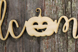 Welcome Pumpkin Text Jack-o-lantern Face Halloween  DIY Wood Word Craft Laser Cut Wooden Decor Birch