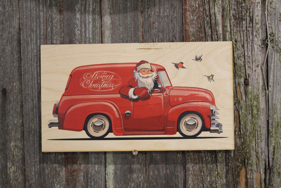 Santa in a Panel Truck Vintage Retro Merry Christmas Rustic Wooden Sign Wall Decor Art Plaque Wood Print