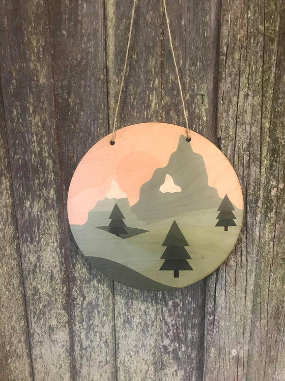 Pine Trees Mountain Sign Round Scenic Wood Sunshine Sky Wall Hanger Nursery Decor Plaque Wall Art Color Wood Print