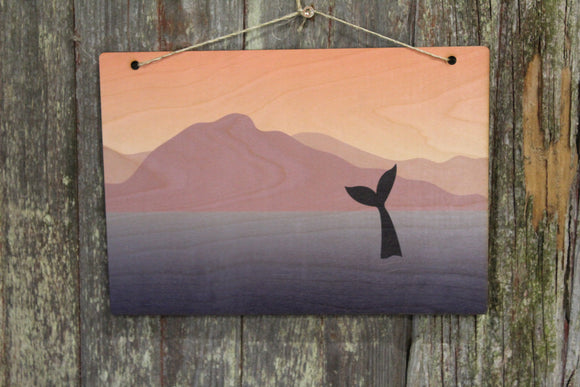 Whale Sign Ocean Mountain Range Whale Tail Fin Pastels Sunset Rustic Wooden Wall Decor Art Wood Print