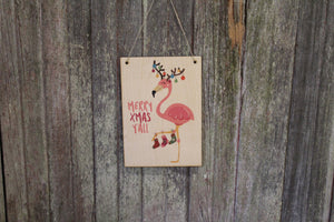 Flamingo Sign Merry Christmas Y'all Beach Sign Stocking Lights Holiday Decoration Rustic Wooden Wall Decor Wood Print