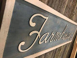 Farmhouse Farmhouse-Ish Sign Blue White Wood 3D Raised Text Country Rustic Primitive Wall Decor Shabby Chic Wall Art