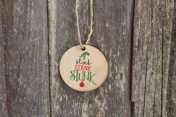 Set of 3 Stink Stank Stunk Ornament Grinch Christmas Keychain Décor Wood Sign Tree Gift Cute Whoville Hand Green Festive