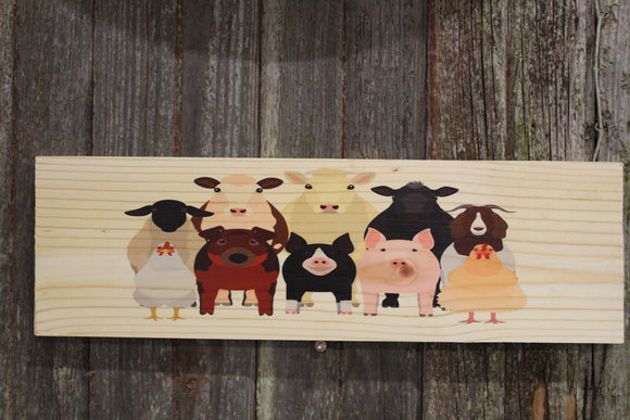 Farm Animal Barn Sign Sheep Cow Bull Rooster Pig Boar Goat Wall Hanging Country Sitter Barn Yard Decoration Wood Print