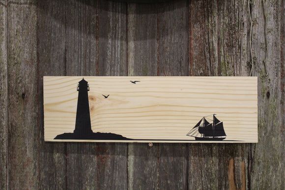 Light House Sail Boat Sign Wall Hanging Silhouette Simple Clean Beach Ocean Rustic Seagulls Sitter Decoration Nautical Wood Print