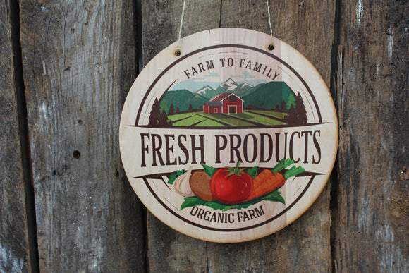 Fresh Products Hanging Sign Wood Family Farm Market Organic Vender Sign Produce Portable Light Weight Wall Sign Decoration Decor