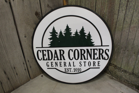 General Store Sign Small Business Round Sign Raised Text Commercial Signage 3D Your Logo Extra Large Rings Established Pine Trees Custom