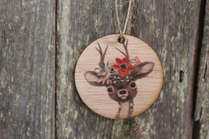 Christmas Deer Floral Wreath Headpiece Ornament Baby Fawn Winter Flowers Face  Ears Spots Wall Hanging Tree Rustic Farmhouse Wood