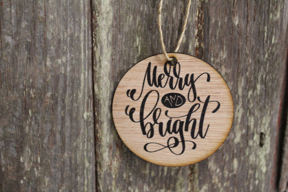 Ornament Merry and Bright Script Text Wood Wall Hanging Tree Rustic Farmhouse Wood Scroll Natural Black