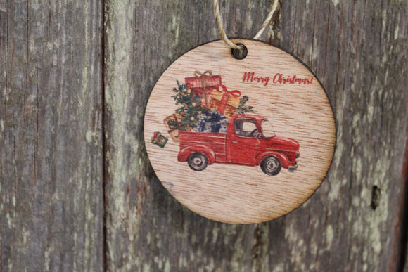 Ornament Merry Christmas Red Vintage Truck Full of Presents Gifts Script Text Wood Wall Hanging Tree Rustic Farmhouse Wood