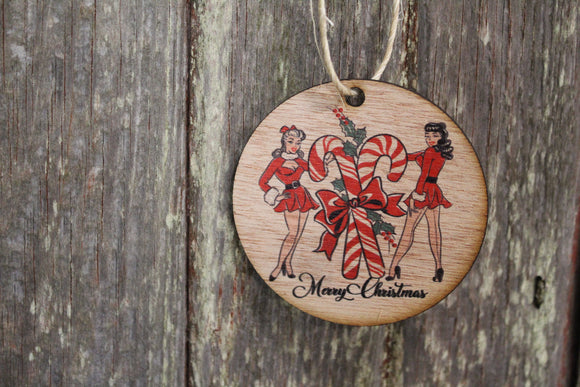 Ornament Retro Pin Up Girls Christmas Ladies Merry Christmas Script Text Candy Canes Wall Hanging Tree Rustic Farmhouse Wood