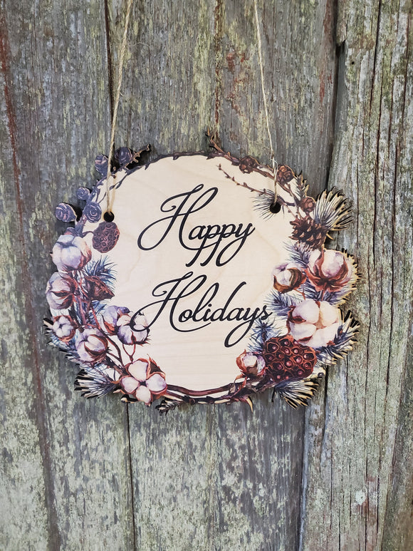 Winter Happy Holidays Wood Door Hanger Cut to Shape Cotton Pine Cones Floral Wreath Front Door Entry Way Decor Plaque Wall Art Wood Print