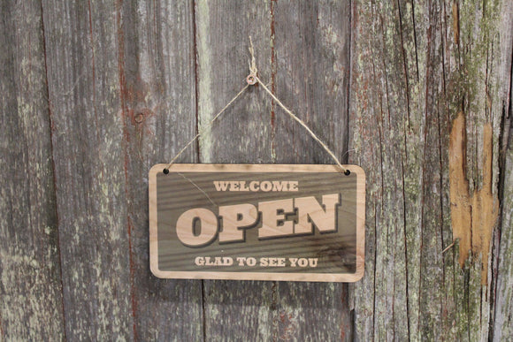Open Closed Sign Green Welcome Glad To See You Sorry We'll See You Later Double Sided Close Vintage Wooden Front Door Entry Way