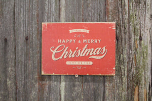 Happy and Merry Christmas Vintage Red Holidays Retro New Year Rustic Chic Boho Primitive Wooden Winter Decor Plaque Wood Print