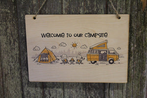 Campsite Welcome Sign Camping Text Camper Rv Family Outdoors Rustic Wooden Wall Decor Wood Print
