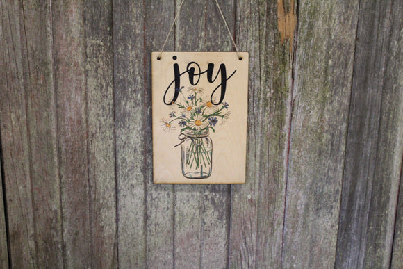 Joy Sign Spring Flowers Mason Jar White Daisies Text Script Encouragement Rustic  Wall Décor Wood Print