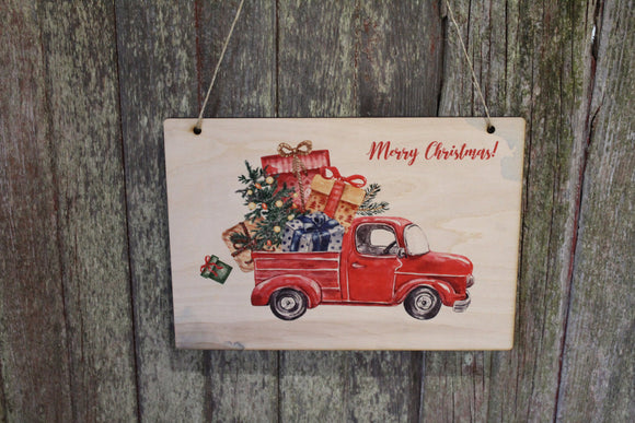 Vintage Red Truck Sign Retro Merry Christmas Tree Carrying the Presents Wall Décor Wood Print Entry Way Front Door