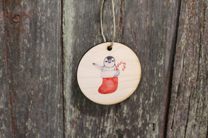 Penguin in a Stocking Christmas Ornament Candy Cane Keychain Decoration Décor Wood Circle Sign Gift Cute
