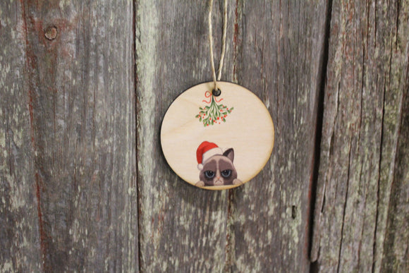 Grumpy Cat Keychain Christmas Mistletoe Santa Hat Ornament Siamese Feline Decoration Décor Wood Circle Sign Gift