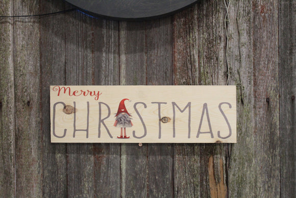 Merry Christmas Gnome Sign Elf Text Script Beard Santa Hat Block Wall Hanging Christmas Decoration Wood Print