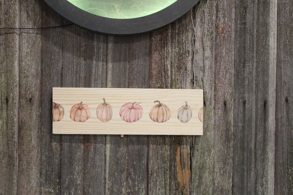 Pastel Pumpkin Sign Pumpkins Gourd Block Autumn Fall orange Wall Hanging Front Door Sitter Decoration Wood Print
