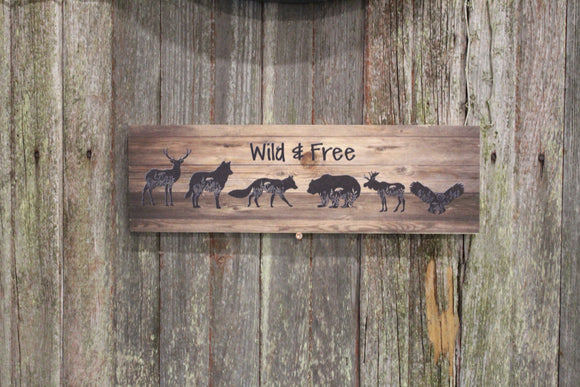 Wild and Free Sign Deer Fox Wolf Bear Moose Owl Woodland Animals Block Creatures Brown Rustic Wall Hanging Sitter Decoration Wood Print