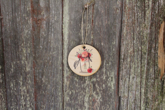 Mason Jar Watercolor Flower Vase Ornament Babies Breath Pink Red Carnations Keychain Hanger Sign Gift Tree