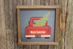 Red Truck Wood Sign Carrying Christmas Tree Santa Merry Christmas Decoration Farmhouse Décor Framed Rustic Printed Winter
