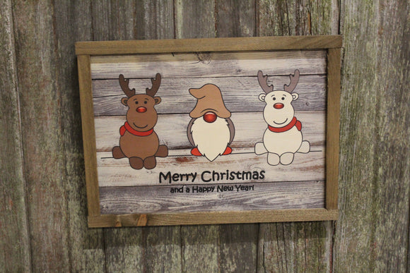 Reindeer Gnome Santa Rudolph Wood Sign Merry Christmas Happy New Year Sign Rustic Wood Decor Farmhouse Decoration Print Primitive