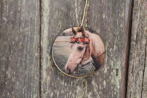 Pet Photo Your Photos on Wood Your Picture Custom Ornament Tree Hanging Sign Printed Personalized Custom Gift Idea Home Decor Horse Round