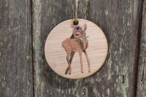 Ornament Baby Fawn Christmas Deer Winter Flowers Floral Crown Ribbon Wall Hanging Tree Rustic Farmhouse Wood