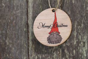 Ornament Gnome Merry Christmas Script Text Elf Decoration Hat Beard Wall Hanging Tree Rustic Farmhouse Wood