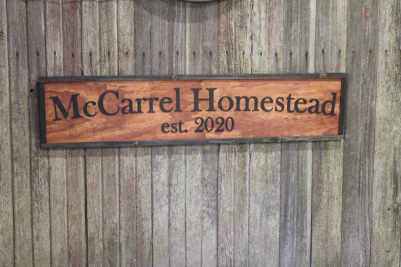 Large Custom Ranch Sign Red Stain Over-sized Rustic Business Logo Raised Text Wood Laser Cut Out 3D Extra Large Sign