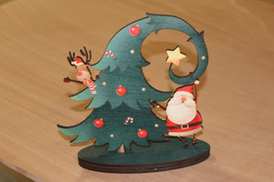 Santa And Reindeer Decoration Holding Up Tree Christmas Shelf Sitter Tree Falling Standing Wood Décor Birch Silly Oops Clutz Holiday