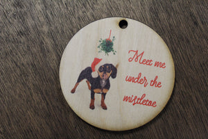 Doxie Kiss Me Under the Mistletoe Dachshund 2020 Wood Slice Dog Primitive Christmas Ornament Rustic Christmas Tree Wood Printed Tongue