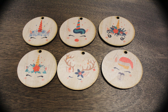 Unicorn Set of 6 Wood Slice Ornaments Floral Crown Face Llama Face Reindeer Primitive Christmas Ornament Rustic Christmas Tree Wood Printed