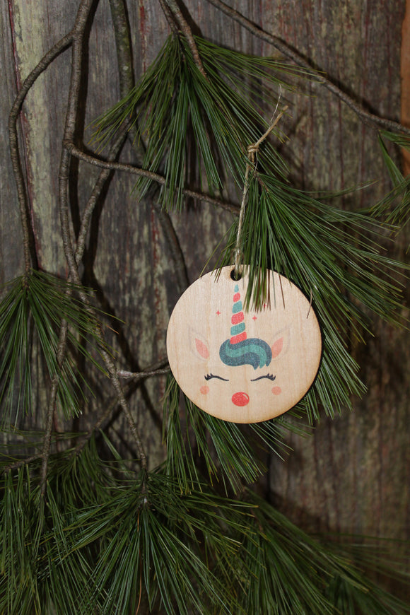 Unicorn Face Ornament Rudolph Red Nose Reindeer Wood Slice Horn Eyelashes Up-close Primitive Christmas Ornament Rustic Tree Printed