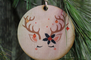 Unicorn Face Ornament Reindeer Antlers Wood Slice Poinsettia Horn Eyelashes Up-close Primitive Christmas Ornament Rustic Tree Printed