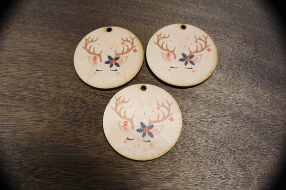 Set of 3 Unicorn Face Ornament Reindeer Antlers Wood Slice Poinsettia Horn Eyelashes Up-close Primitive Christmas Ornament Rustic Tree Print