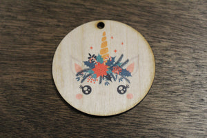 Unicorn Up-close Face Ornament Wood Slice Floral Crown Flowers Crown Primitive Christmas Ornament Rustic Tree Printed