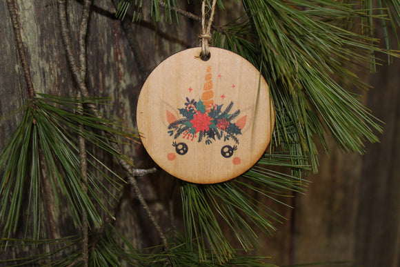 Set of 3 Unicorn Up-close Face Ornament Wood Slice Floral Crown Flowers Crown Primitive Christmas Ornament Rustic Tree Printed