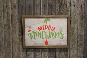 Merry Ginchmas Sign Grinch Wood Color Christmas Sign Santa Hand Ornament Framed Country Farmhouse Decoration Holiday Gift