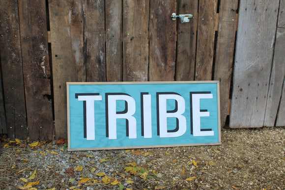 Tribe Wood Sign Extra Large 3D Raised Text Turquoise Framed Adventure Family Livingroom Couch Over Sized Sign
